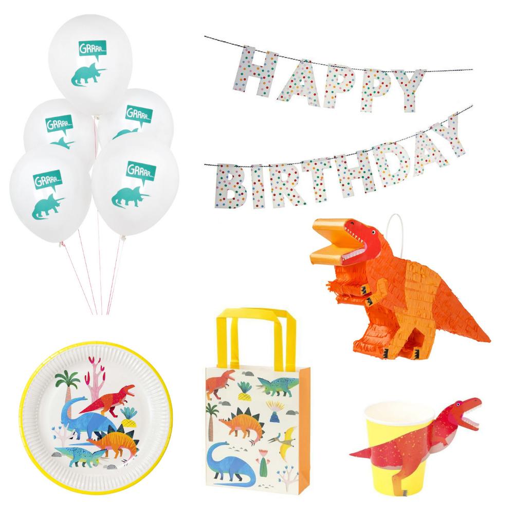 8 teiliges Dino Geburtstag Deko Set für 8 Personen   van harte ...